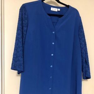 Denim & Co Royal Blue Lace Sleeves Blouse XL  NWOT